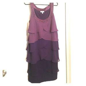 Purple tiered dress